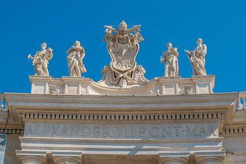 Het wapenschild en de inscripties doen denken aan paus Alexander VII in het Vaticaan van Castro Sanderson
