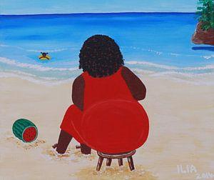 Moeder aan het strand van