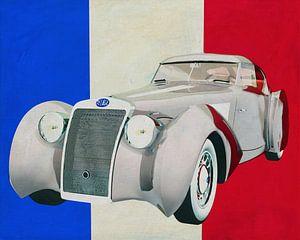Delage D8-120 Aerosport 1938 met Franse vlag