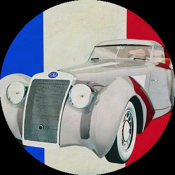 Delage D8-120 Aerosport 1938 met Franse vlag van Jan Keteleer