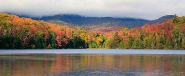 Panorama van herfstkleuren aan een bergmeer van Jonathan Vandevoorde