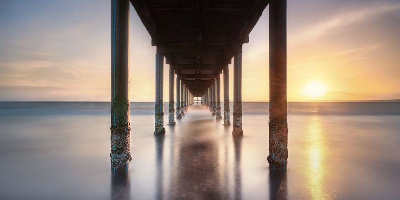 Sonnenuntergang an der Ostsee mit Seebrücke von Voss Fine Art Fotografie