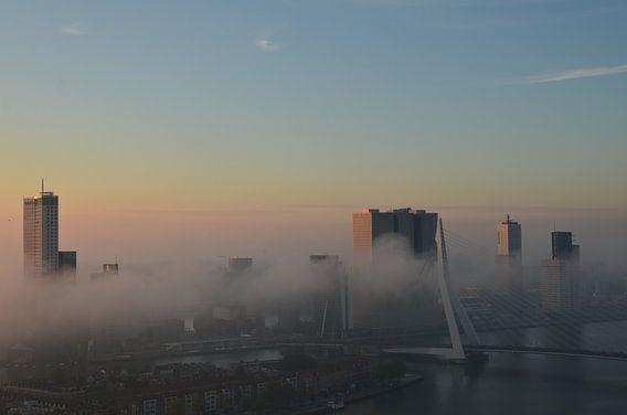Rotterdam ontwaakt met een mist deken van Marcel van Duinen