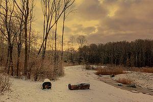 Winterlandschap met gele gloed