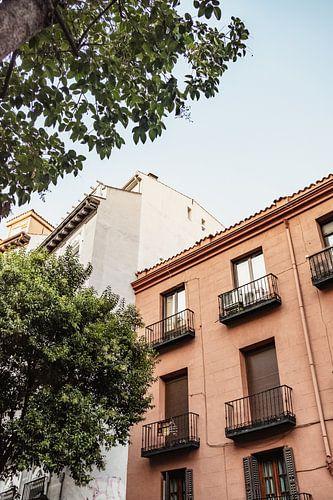 Terracotta gebouw met boom in Madrid, Spanje