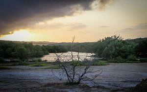 Photo brute d'un lever de soleil au Spaans Lagoen à Aruba