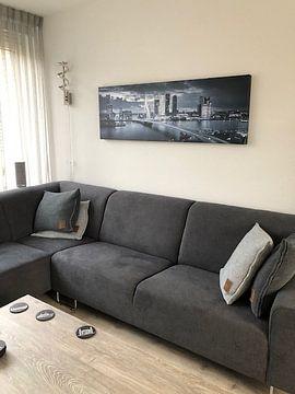 Kundenfoto: Skyline Rotterdam Erasmus-Brücke - Metallic-Grau von Vincent Fennis
