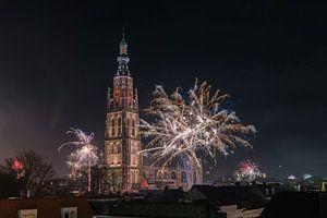 Vuurwerk bij de Grote Kerk van Breda