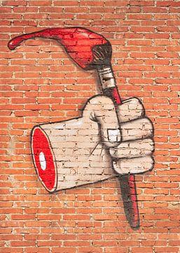 Expressieve street art op een bakstenen muur van Tony Vingerhoets