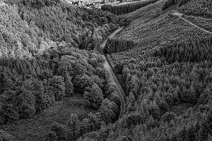 Weg door de heuvels van