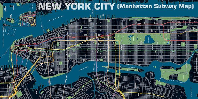 New York City, Manhattan metro, Nacht van MAPOM Geoatlas