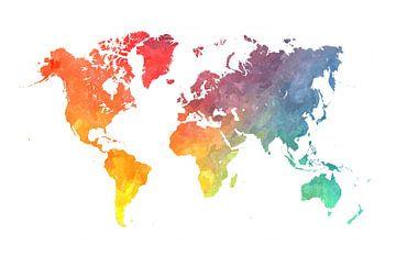 Weltkarte Farben #Karte von JBJart Justyna Jaszke