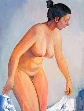 Eine junge Frau lässt ein weißes Laken fallen, das sie bedeckt, Hubertine Heijermans... von Atelier Liesjes