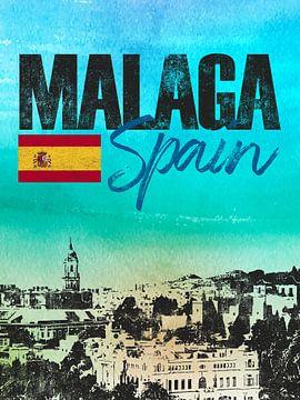 Malaga Spanje van Printed Artings