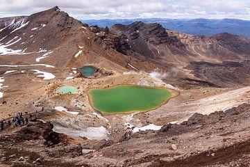 De groene meren op mount Tongariro van Greet Thijs