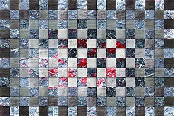 Bildcollage in graumetallic und rot van Martin  Uda