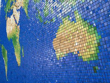 Wereldkaart mozaïek-: Australisch perspectief van Frans Blok