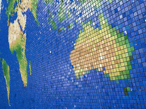 Wereldkaart mozaïek-: Australisch perspectief