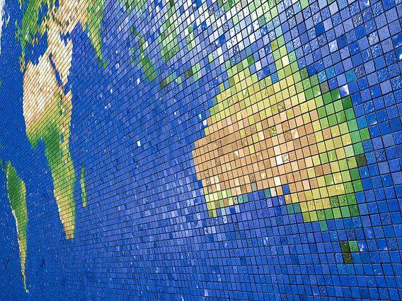 Carte du monde mosaïque: vue australien