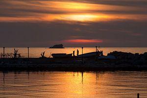 Zonsondergang op Lesbos, Griekenland