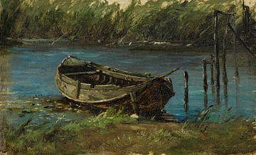 Carlos de Haes-Houten Bootslandschaft am Fluss, Antike Landschaft