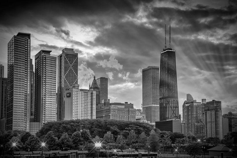 CHICAGO Skyline black and white van Melanie Viola