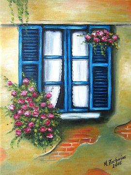 Blauwe bloemen venster zomergevoel van Marita Zacharias