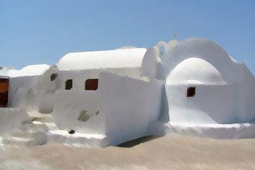 Weiße Häuser und Kirche auf der griechischen Insel Santorin von Annavee