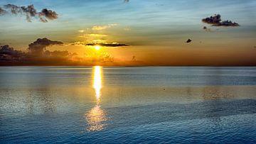 Oranje en blauwe zonsopkomst van Roel Ovinge