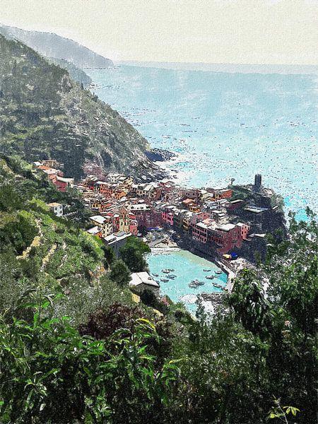 Kustlijn van de Cinque Terre bij Vernazza - Italie - Schilderij van Schildersatelier van der Ven