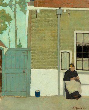 Frau vor ihrem Haus, Jan Mankes