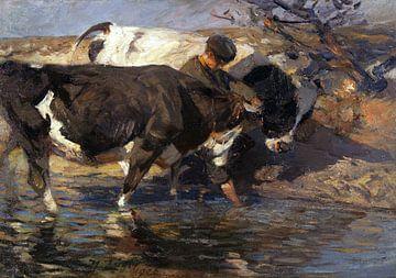Treiber mit zwei Rindern an der Furt, HEINRICH VON ZÜGEL, 1906