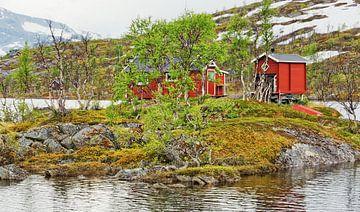 Die rote  Hütte im See - Norwegen von Gisela Scheffbuch