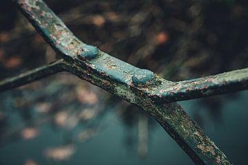 Detail van een oude verroeste metalen balustrade van ElkeS Fotografie