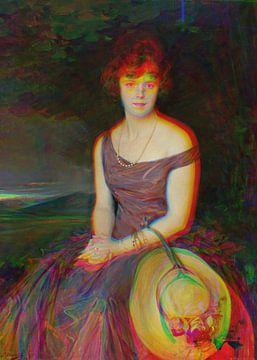 Porträt einer Dame mit Strohhut