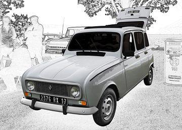 Renault R4 Poster in Originalfarbe von aRi F. Huber