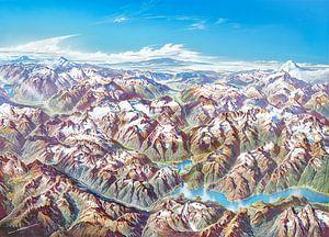 Kaart van Noordelijke Cascades (zonder etiketten), Heinrich Berann van
