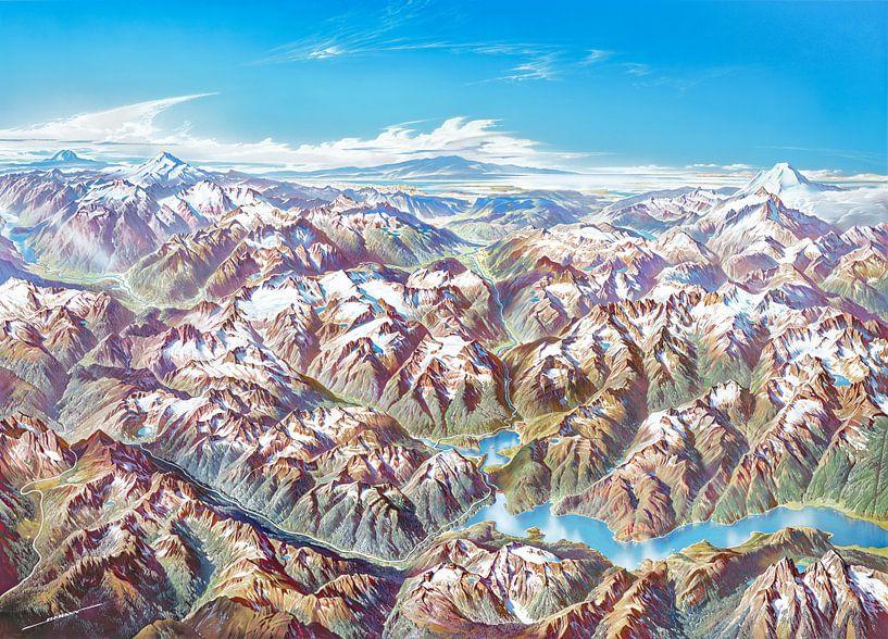 Carte des Cascades du Nord (sans étiquettes), Heinrich Berann sur Creatieve Kaarten
