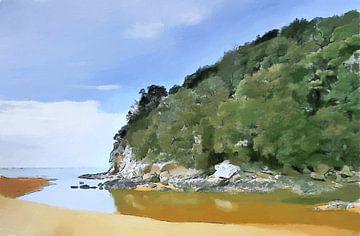 Strand - Nieuw-Zeeland - Abel Tasman - Kust - Stukje Paradijs - Geschilderde Tekening