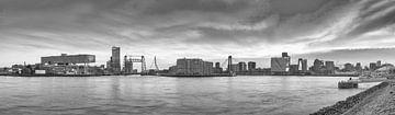 Rotterdamer Panorama Maas mit 3 Brücken in schwarz-weiß von Ronald Tilleman