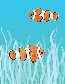Twee anemoonvissen die in het koraal zwemmen van Bianca Wisseloo