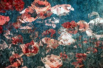 Feld mit Mohnblumen von Marijke de Leeuw - Gabriëlse
