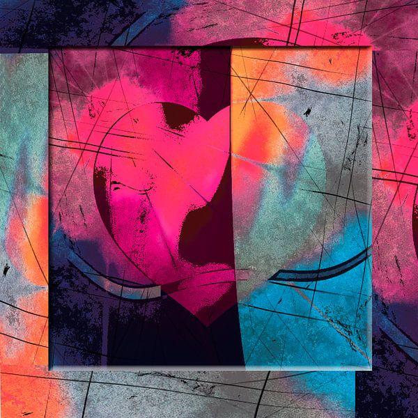 Heart abstract pink van Rosi Lorz