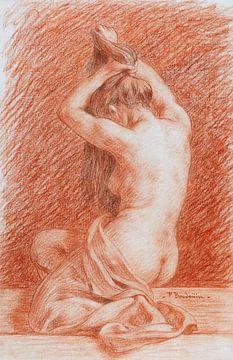 Vrouw doet haar kapsel, in rood, Paul Baudouin van Atelier Liesjes