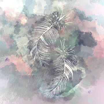Gekleurde veren - waterverf effect van Emiel de Lange