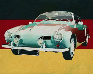 Volkswagen Karmann Ghia von 1959 vor der deutschen Flagge von Jan Keteleer