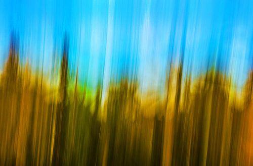 Abstract in geel en blauw  von Wim Goedhart