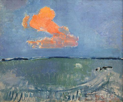 Piet Mondriaan. Landschap met oranje wolk van 1000 Schilderijen