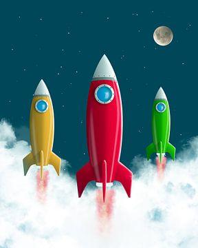 Raket naar de maan van Leon Brouwer