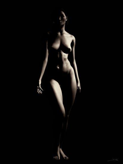 Naakte vrouw – Naakt model komende vanuit het donker